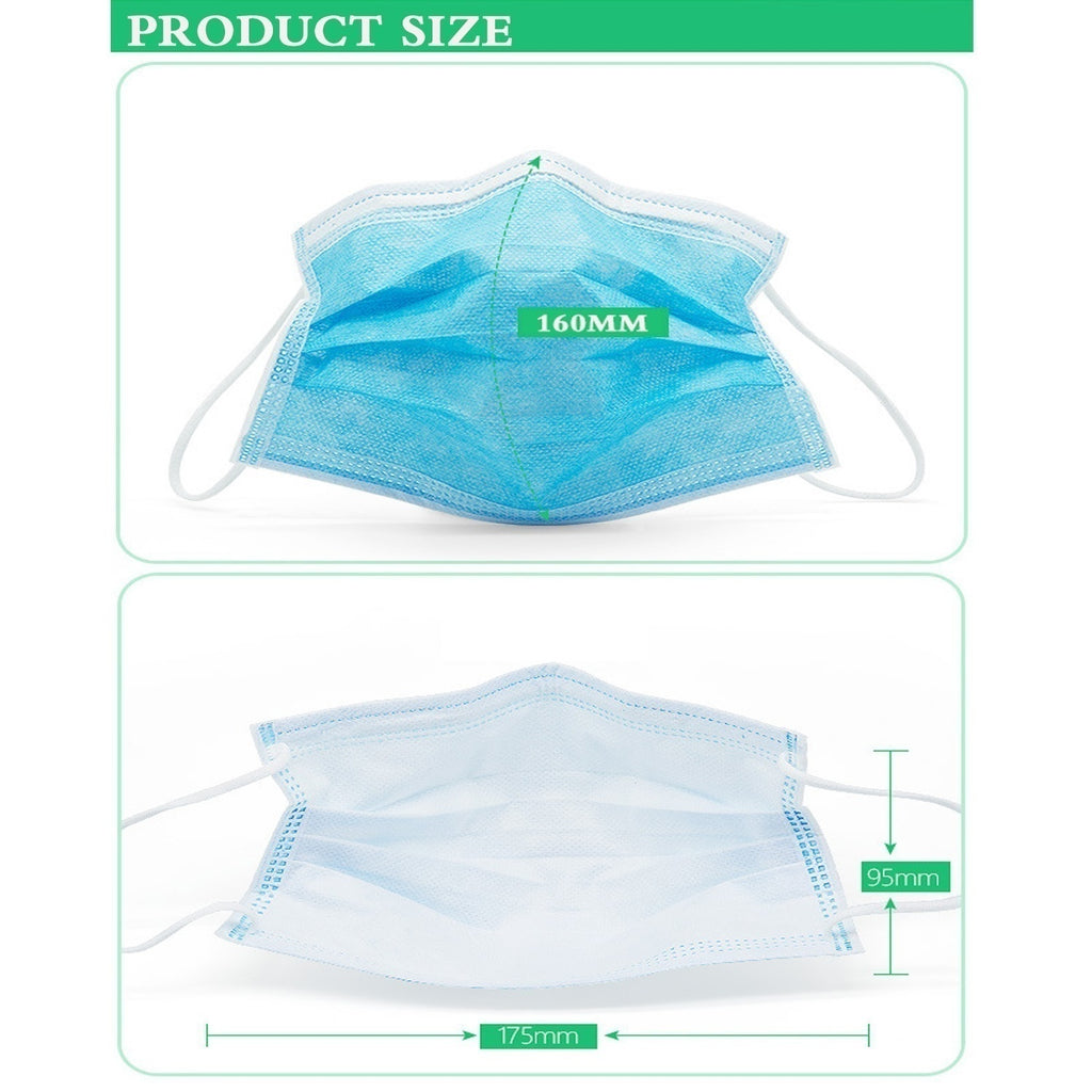 100 Pcs Disposable Sanitary Masks - Face Mask with Earloops Surgical Medical Face Masks Hypoallergenic Protect Yourself Against Dust Pollen Allergens Flu 3 Ply Safety Face Masks(Blue)