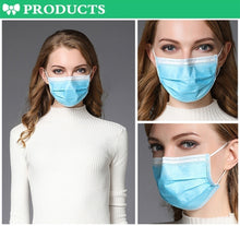 Load image into Gallery viewer, 100 Pcs Disposable Sanitary Masks - Face Mask with Earloops Surgical Medical Face Masks Hypoallergenic Protect Yourself Against Dust Pollen Allergens Flu 3 Ply Safety Face Masks(Blue)