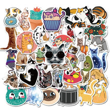 Load image into Gallery viewer, 50Pcs/pack Cute Cat Samurai Cat Tattoo Cat Stickers For Scrapbooking Laptop PC Phone Guitar Luggage Cartoon Waterproof Decor Stickers