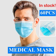 Load image into Gallery viewer, 20/60PCS Medical Masks  PM2.5 Dust Mask with Elastic Ear Loop 3 Layers