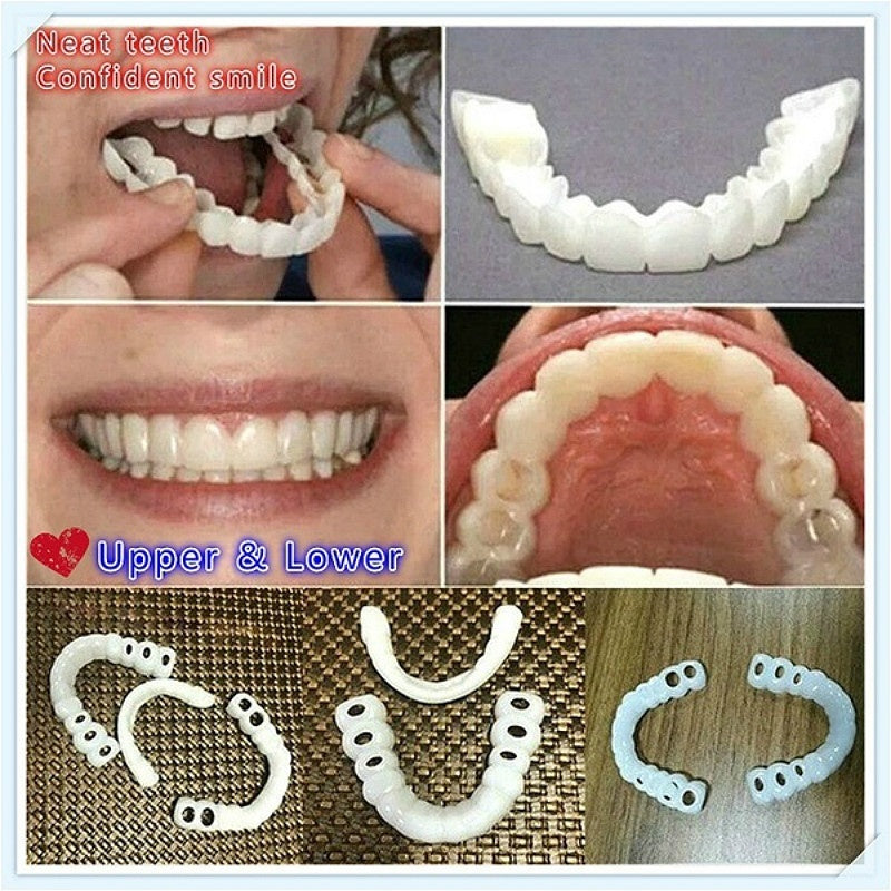 1Pair Teeth Veneers Upper Und Lower Braces Reusable Snaps Perfect Smiley Whitening Dentures for Flexible Cosmetics Comfortable Retouching Dental Care Accessories Denture Sleeve
