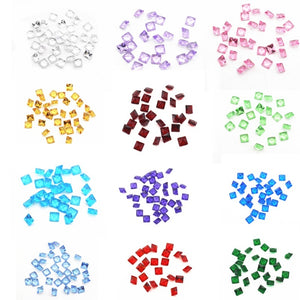 120pcs / lot Birthstone Crystal Heart Square Star Round Charms, Living Glass Floating Memory Charms, DIY Jewelry Locket Accessories