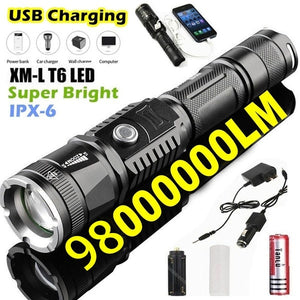 Led 98000000LM Torch Phone Usb Charging Flashlight Linternas/ Lampe Torch + Charger + Rechargeable Battery