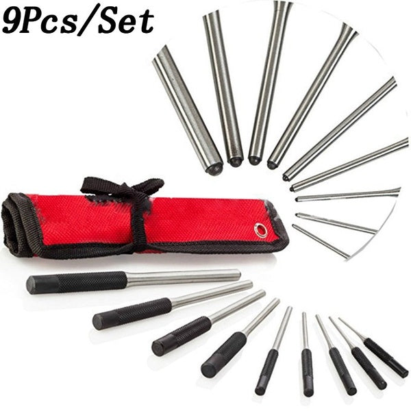 9Pcs Roll Pin Punch Set Tools Kit Great For Pistol Building & Removing Pins