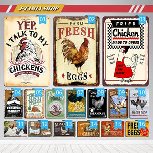 Chicken Coop Farm Egg Metal Posters Vintage Tin Signs Kitchen Farm Home Wall Decor