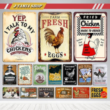 Load image into Gallery viewer, Chicken Coop Farm Egg Metal Posters Vintage Tin Signs Kitchen Farm Home Wall Decor