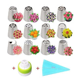 22 full set of flower-shaped boxed stainless steel piping nozzle extrusion nozzle Korean butter cookie baking tools