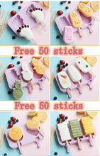Load image into Gallery viewer, Ice Molds Ice Cream Mold Silicone Children's Cartoon Cute Homemade Popsicle Molds Popsicle Molds Household Set  Ice Lolly Mold DIY Homemade Ice Cream Mold Free Wooden Stick 50pcs
