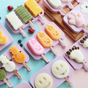 Ice Molds Ice Cream Mold Silicone Children's Cartoon Cute Homemade Popsicle Molds Popsicle Molds Household Set  Ice Lolly Mold DIY Homemade Ice Cream Mold Free Wooden Stick 50pcs