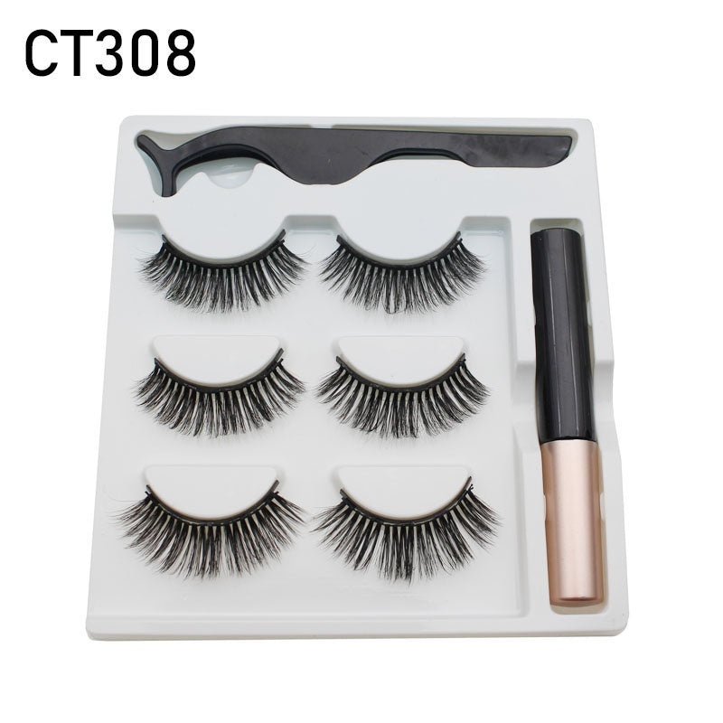 Mink Hair False Eyelashes 3 Pairs Magnetic Eyelashes with 1 Pc Magnetic Eyeliner and Tweezer Set Makeup Beauty Extension Tool