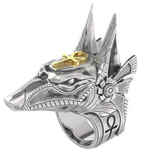 Load image into Gallery viewer, Men's Vintage 316L Stainless Steel Egyptian Mythology Anubis and Egyptian Cross Ring Punk Men's Self-Defense Jewellery Ring