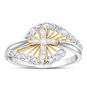 Exquisite Women's 925 Sterling Silver 18K Gold Two-tone Natural White Sapphire Gem cross Ring Bride Wedding Engagement Ring Anniversary Gift Party Ring Jewelry Size 5-11 Anillos