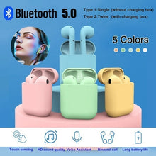 Load image into Gallery viewer, Bluetooth V5.0 Mini Sports Music Headset with Mic I12 TWS Earbuds Colorful Wireless Headphones