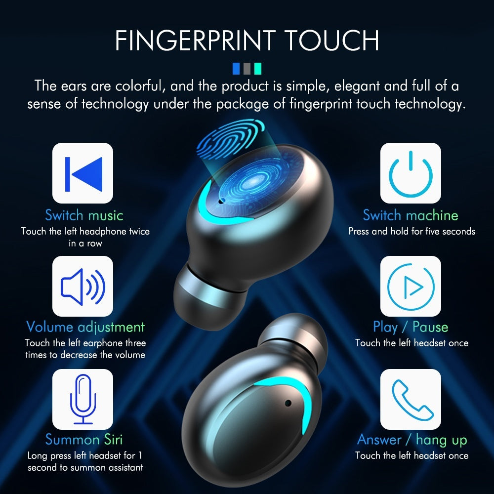 Upgraded Version 2020 New 9D HI-FI Headphones IPX7 Waterproof Earbuds Bluetooth 5.0 Wireless Earphones with 4000mah LED Power Display Charging Case