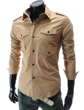 Load image into Gallery viewer, New Men's Fashion Shirts Multi Pocket Slim Men's Long Sleeve Shirts