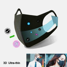 Load image into Gallery viewer, 1/3/6Pcs Black 3D Ultra-thin Anti Pollution Mask Replacement Mask Carbon Activated Air Mask Sport 3 Layers Dustproof Mask