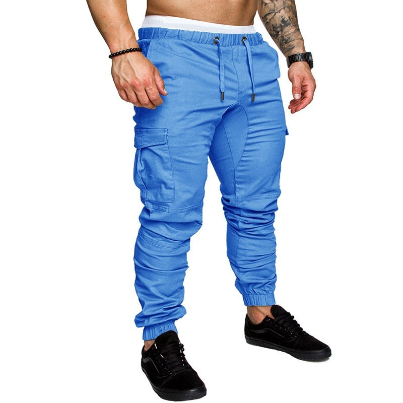 Men Cargo Joggers Multi Pocket Casual Pants Man Trousers Drawstring Slim Fit Long Pants Streetwear Solid Color Hip Hop Jogging Sweatpants sports pants