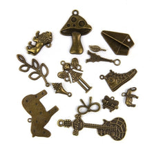 Load image into Gallery viewer, 50G Vintage Antique Bronze/Tibetan Silver Charms Pendants Jewelry Findings for Necklace Bracelet Anklet Making DIY Crafts (Random Shape)