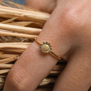 Vintage 18k Gold Daisy Fashion Jewelry Sunflower Casual Women Rings Size 4-12