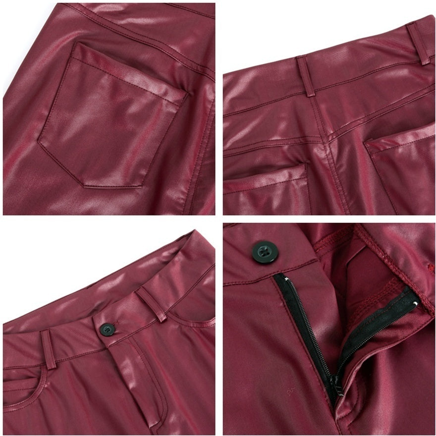 New Arrival Women's Bottoms Pure Color Hose Leather Skinny Pants Stretch Hipsters Trousers Leather Pants Plus Size