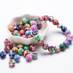 6 /8 /10mm 50pcs Soft Pottery Charms Kids Colorful Round Beads Loose Pattern Round Polymer Clay Beads For Making Jewelry Girl Diy Accessories Bracelet Pearls Flower Fimo Beads