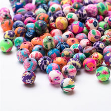 Load image into Gallery viewer, 6 /8 /10mm 50pcs Soft Pottery Charms Kids Colorful Round Beads Loose Pattern Round Polymer Clay Beads For Making Jewelry Girl Diy Accessories Bracelet Pearls Flower Fimo Beads