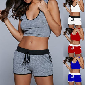Women's Fashion Sports Set Fitness Sport Suit Crop Tops and Shorts Two Piece Set