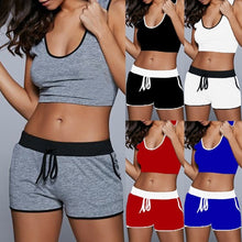 Load image into Gallery viewer, Women's Fashion Sports Set Fitness Sport Suit Crop Tops and Shorts Two Piece Set