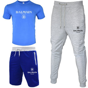 New Men T shirt + Short Pants + Trousers  Set Short  Sleeve Tops Casual Trousers Tracksuits Sportsuit Clothing Sets