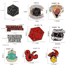 Load image into Gallery viewer, Dungeons and Dragons Enamel Pin  D20 Dice Brooch DnD Tabletop Gaming Gifts