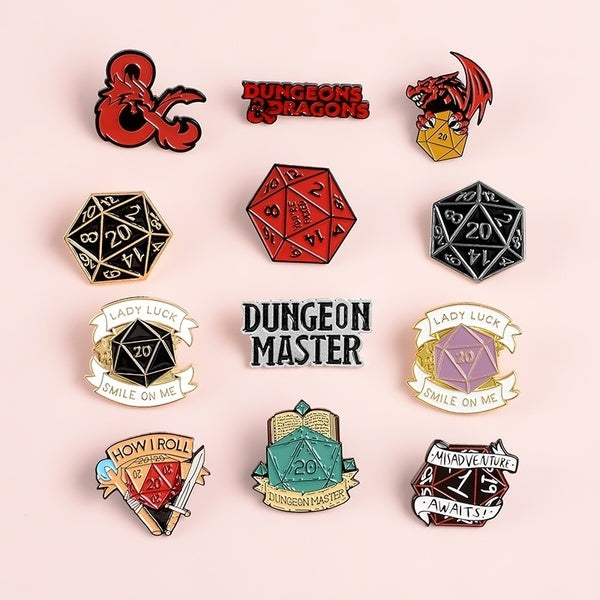 Dungeons and Dragons Enamel Pin  D20 Dice Brooch DnD Tabletop Gaming Gifts