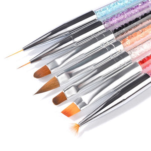 7 PCS  Rhinestone Handle Acrylic Brushes for Manicure Nail Design Nail Brush for Nail Art Liner Gel Painting Brush