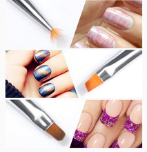 Load image into Gallery viewer, 7 PCS  Rhinestone Handle Acrylic Brushes for Manicure Nail Design Nail Brush for Nail Art Liner Gel Painting Brush
