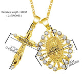 Fashion18K Gold Rhinestone Crystal Diamond Virgin Mary Cross Necklace Crucifix Jesus Pendant Women Jewelry Christmas Gifts