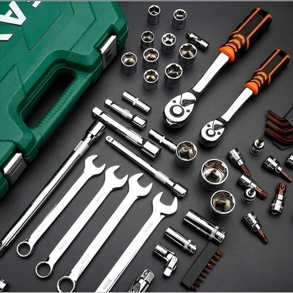 2020 New Household Car AUTO Repair Tool Kit with Plastic Toolbox Storage Case Socket Ratchet Wrench Screwdriver Hand Tool Set
