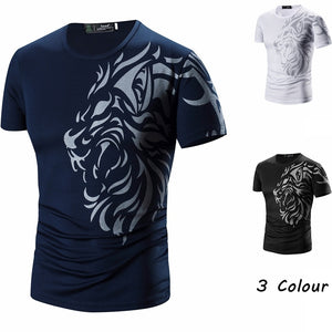 Fashion!!!Summer New Men's Tattoo Print Breathable Short-sleeved T-shirt Men's Tops