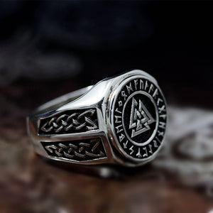 Mens Valknut Symbol Silver Stainless Steel Ring Norse Viking Magic Rune Runic Amulet Jewelry Size 7-14