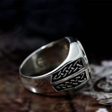 Load image into Gallery viewer, Mens Valknut Symbol Silver Stainless Steel Ring Norse Viking Magic Rune Runic Amulet Jewelry Size 7-14