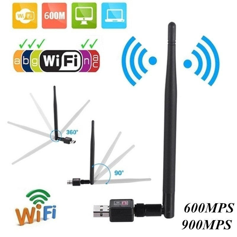 600Mbps/900Mbps Wireless USB WiFi Adapter Dongle Network LAN Card 802.11b/g/n W/ Antenna