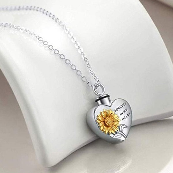 Titanium Steel Funeral Cremation Heart Pendant Gold Sunflower Forever In My Heart Necklace Keepsake Urn Perfume Necklace For Ashes Memorial Jewelry Mementos Jewelry Gifts