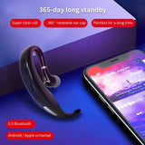 Bluetooth 5.0 Earphone Business Bluetooth Earhook Headset Noise Reduction Handfree Car Driving Headphones Waterproof Sport  Wireless Earbuds for iOs Android SmartPhone Earphones