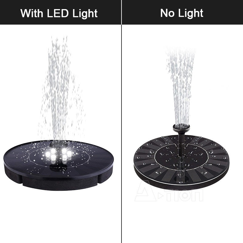 Mini Solar Floating Water Fountain 5 Different Spray Heads For Bird Bath Garden Back Yard And Small Pond  with led light/ no led light