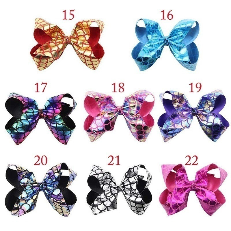 New Christmas Style Dancing Girl Ribbon Hair Bows Rainbow Bow-Knot Handmade Printed Ribbon Hairbows Girls Hair Accessories Christmas Gifts For Girls