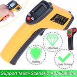 1PC Forehead Thermometer High Precision LCD Display Infrared Thermometer Handheld Thermometer Without Battery (Yellow/red)