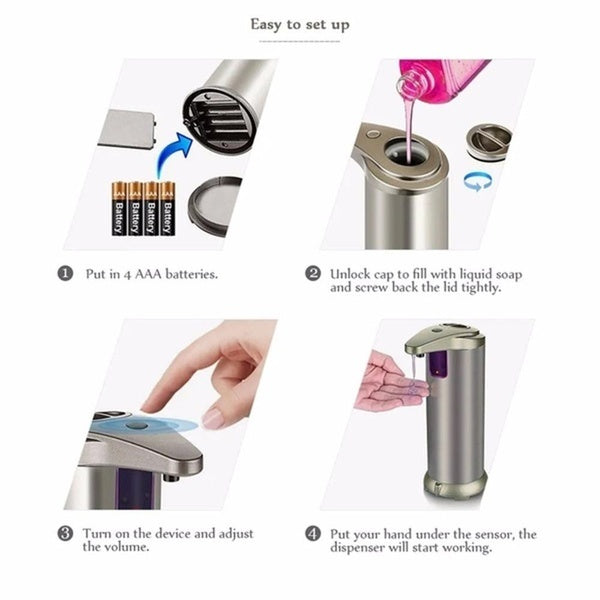 Automatic Touchless Sanitizer Liquid Soap Dispenser Smart Sensor Touchless ABS Electroplated Sanitizer Dispenser Soap Kitchen Bathroom Office 250ml/350ml Optional