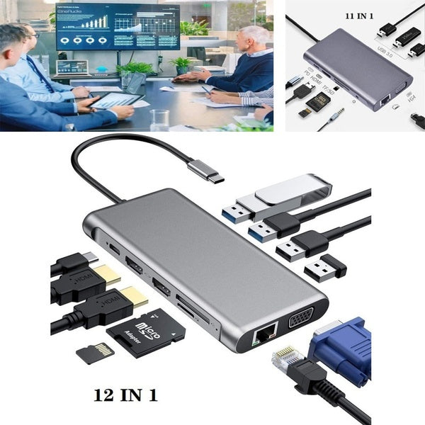 12 In 1/11 IN 1USB Hub Type C Hub with Ethernet Dual 4K HDMI VGA USB 3.0 USB 2.0 100W PD USB-C Data Port SD/TF Card Reader Docking Station Compatible