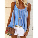 NEW Fashion Women's Printed Tank Tops Summer Spaghetti Strap Sleeveless Vest Casual Blouse Loose Top Plus Size XS~5XL