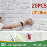 1-20pcs 3D Wall Stickers Imitation Brick Bedroom Decor Waterproof Self-adhesive Wallpaper for Living Room Kitchen TV Backdrop Decor70*38
