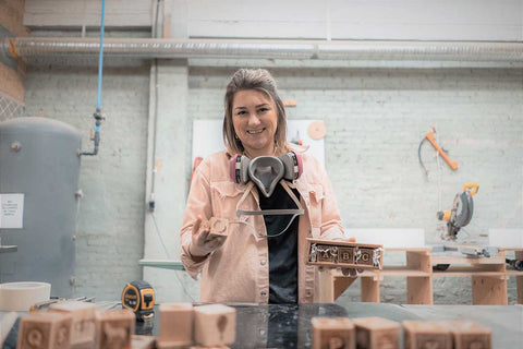 Founder Avery-Anne Gervais with Blocks at North Forge Fabrication Lab