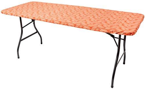 "6ft. Fitted Picnic Table Tablecloth (72""x30"") + Tote Bag – 100% Waterproof & Fitted Rectangle Tablecloth for 6 Foot Tables, Folding Table Cover 6ft for BBQs, Picnics, Parties & Outdoor (Autumn Leafy)"